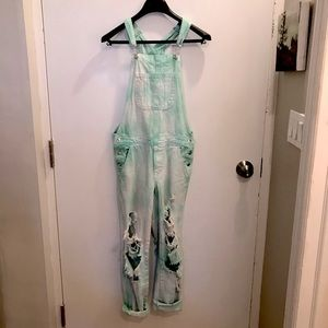 F21 mint green tie dye distressed overalls size 6